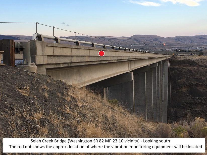 Selah Creek with location dot and caption